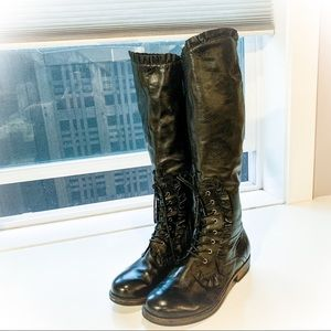 Crown Vintage Leather Frill Moto Knee Boots Size 8